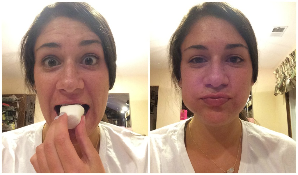 Rachel played Chubby Bunny by herself.