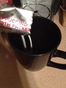 "Step One: Pour ""froth packet"" into empty cup"